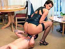 Face sitting femdoms give handjobs and blowjobs to their male slave. Facesitting fuck face with asslicking and rimjob