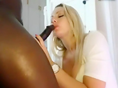 Blonde giving head blowjob