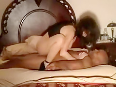 Incredible Amateur movie with Brunette, Interracial scenes