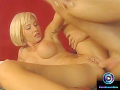 Tattooed blonde Sandra Iron gets anal pleasured