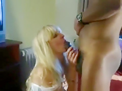 Blonde in Lacy White Lingerie Plays with a BBC
