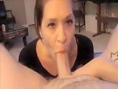 horny girlfriend gives boyfriend a blowjob, suckin...