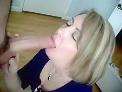 Blonde red lipstick blowjob