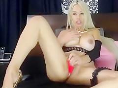 Blonde PamelaXpice rides on dildo