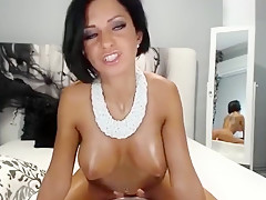 Attractive and hot babe Anisyia rides on dildo
