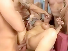 Exotic Amateur movie with Gangbang, Brunette scenes