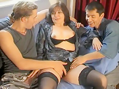 Amazing Amateur movie with Stockings, Threesome scenes