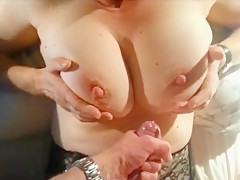 Cumming on a huge pair of tits - POV