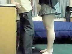 Crazy dude lets his nasty chick knee him in the nuts over a