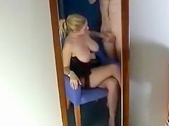Busty girl jerks at down him