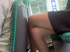 Sneaky voyeur uses a spycam to take stolen shots of a leggy