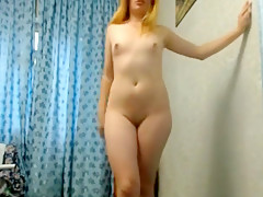 Delightful blonde girl reveals her sublime ass and her perk