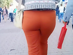 Large butt milf in trousers that are red
