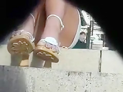 Young Girl Wears Sexy Open-Toed Shoes And Gets Caught On Ca
