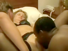 Bitch that is blonde loves two cocks that are black