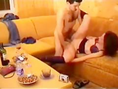 Hot brunette gets fucked on sofa