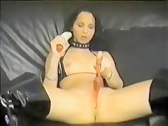 Slutty adds huge toys into her cunt