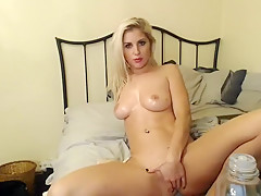 Stacked blonde cheerleader sucks a long shaft and fingers h