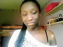 Sweet ebony teen teases on her camera
