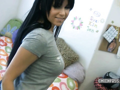 Cute college beauty Chloe James is playing with her toy