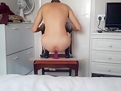 Teen Riding Huge Dildo In Latex Stockings