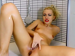 Squirting masturbation in the shower and food stuffing
