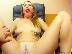 Massage pussy orgasm, multiple squirt and gagged