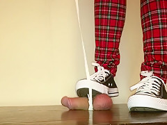Cock box trampling by black Converse with cock on doggy lead
