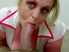 Chubby Woman In Sexy Nurse Uniform Sucks
