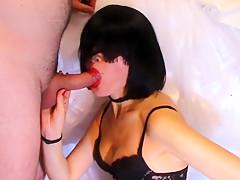 Brunette covered in semen ! Best blow job !