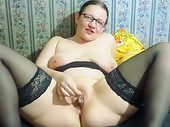 Mature Brunette Fucking Their Holes By Lollipop