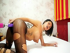 Anisyia livejasmin stockings, high heels geting fucked by machine part2