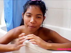 hd thai teen heather deep gives deepthroat and get asshole anal broken in shower with anal
