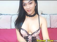 Pretty Asian Tranny Babe Masturbating On Webcam