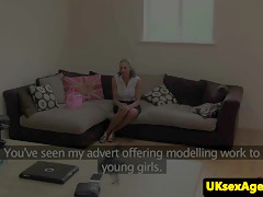 jizzed audition brit fingered by agent