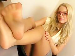 Hottest homemade Blonde, Foot Fetish porn clip