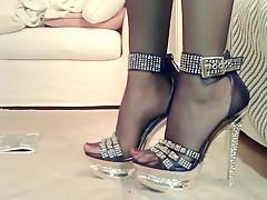Fabulous amateur Foot Fetish, Stockings xxx clip