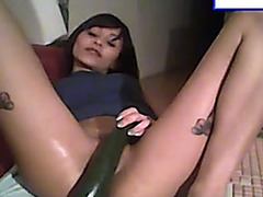 Webcam show with self fisting and cucumber