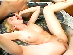 Blonde Gets Taught To Fuck By Two Guys