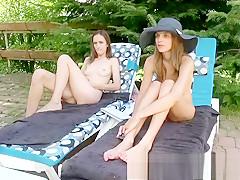 Lovely Brunette Outdoor Masturbation