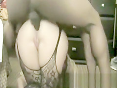 Horny skinny bitch in stockings fucked doggystyle