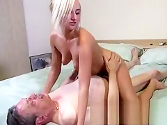 Young blonde does blowjob in the forest