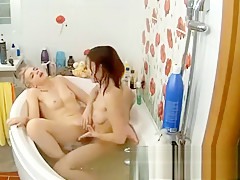 Blond lesbian shower clam lick