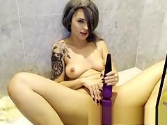 Solo masturbation in shower