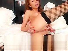 Lesbian amateur at euro orgy party fingering pussy
