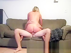 Small titted blonde fucked and creampied