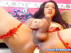 Latina Shemale Squirts while Double Toying her Ass