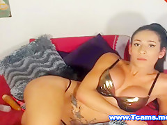 Hot Shemale on Braces Jerks off her Big Cock