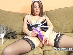 Busty MILF Lavender Rayne masturbates in a slutty costume