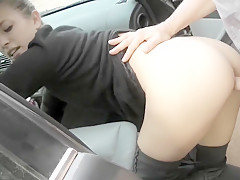 German Pickup Hammered by a Stranger Outdoors
